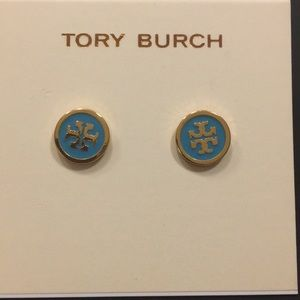 Tory Burch Gold Blue TT Logo Earrings